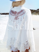 Girls Images Beige Embroidered Lace Patchwork Kimono Women Ladies Net Latest Fancy Tops