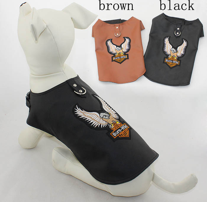 Funny dog clothes cool leather pet jacket clothing
