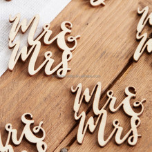 Natural Wood Handwrite Mr&Mrs Table Confetti Embellishments Crafts Toppers Chips Cardmaking Scrapbooking
