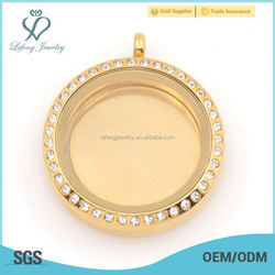Wholesale 316 stainless steel 22mm Gold Blank Floating plates For 30mm Round Floating Lockets