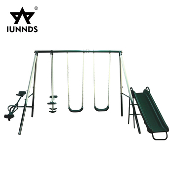 Outdoor plastic kids children slide glider swing chair sets with seesaw seat