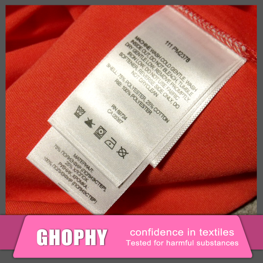 Swimwear Nylon Satin Washing Care Labels, fabric Clothing Printed Label for clothing, White Label