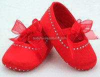 Sparkle Mary Jane Style Soft Sole Baby Girl Shoes with Bow