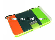 Tricolour Leather Wallet Case for Samsung Galaxy Note 2 II N7100