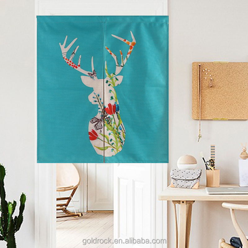 Nordic creative geometry deer home decor Japanese style door curtains custom specifications style Fabric printing curtains