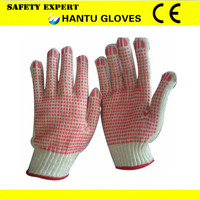 cotton glove, palm PINK pvc dotted, double side