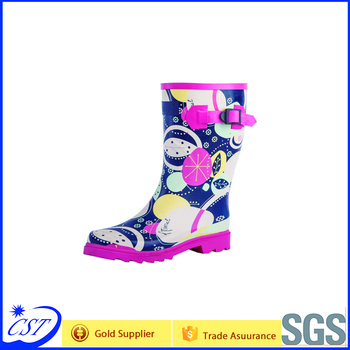 Pink flower rain boots with buckle short style for women