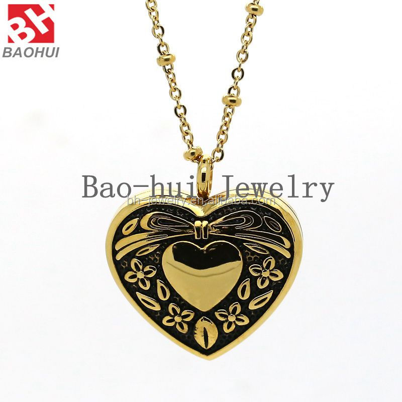 Pendant Frame 30*27MM Gold Heart Shape Stainless Steel Magnetic Open Living Photo Memory Floating Locket