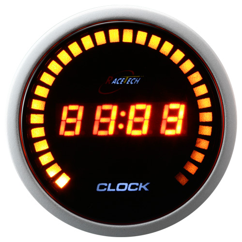 52mm amber LED digital clock for tuning cars/universal car 30LED lights on the outer/24 hour mode