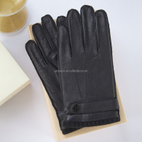 deerskin men leather gloves knitted ribbed cuff 3 lines stitching style