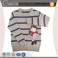 stylish navy stripe long sleeve cotton knitting kids pullover child girl sweater