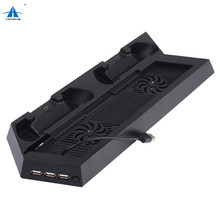 Black Game Console Cooling Station Vertical Stand with Dual Controller Charging Dock + USB/HUB Ports for PS4