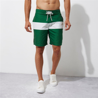 Wholesale Blank Green and White Stripe No Brand Design Your Own Board Shorts