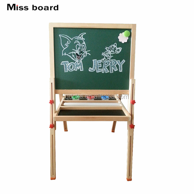 2017 Kids study wooden blackboard for christmas,Double side wooden learn blackboard