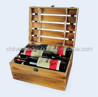 Hot sale 6 bottle wooden wine bottles storage crate for for Where to buy used wine crates