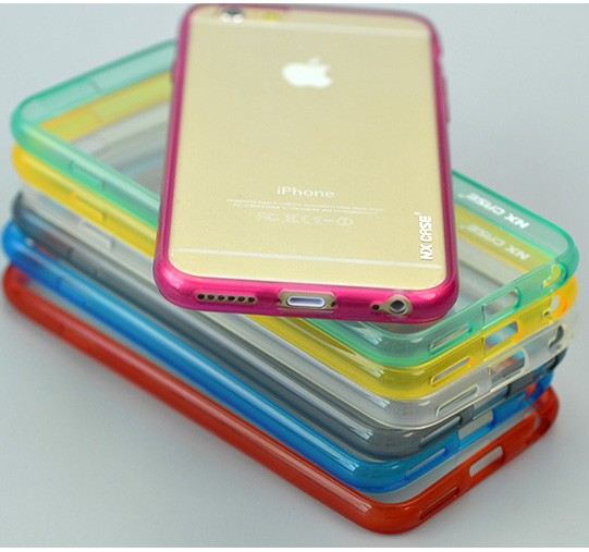 Cell phone cover, wholesale transparent back PC+soft TPU mobile phone case, for iphone 6 4.7 inch