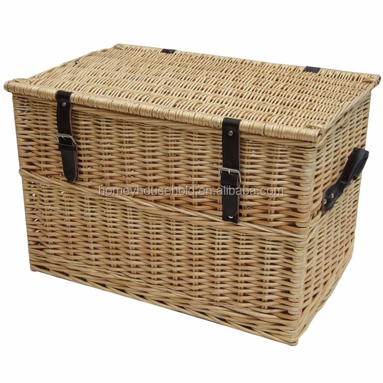 Wholesale Cheap Wooden Handmade Wicker Chest Storage Trunk Boxes
