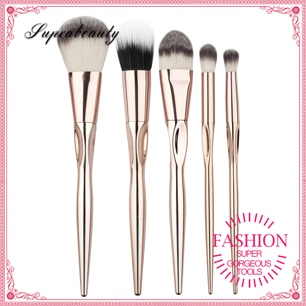 silver handle makeup brush synthetic hair cosmetic brush set