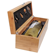 hot selling BSCI bamboo wooden display single red wine glass bottle storage case gift box carrier