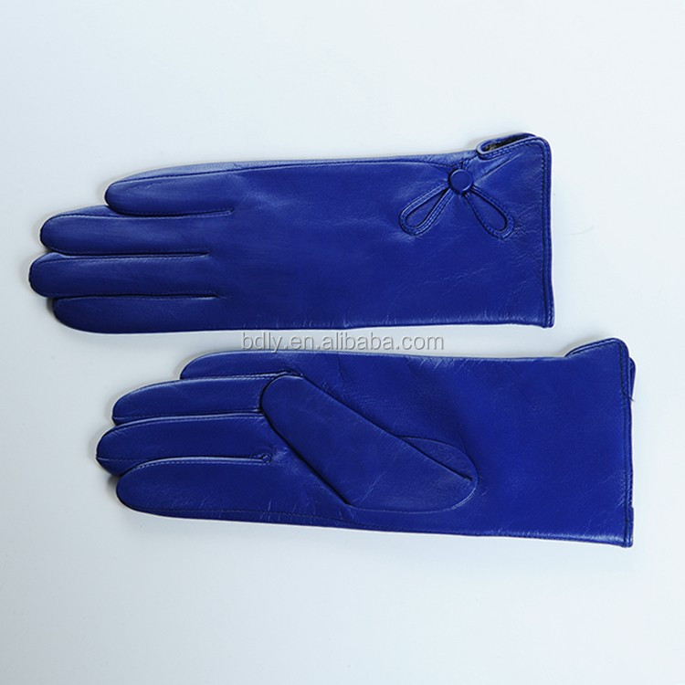 Ladies royal blue fashion dress leather gloves