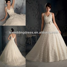 WD2857 Luxurious champagne pleated top beaded diamond band 3D flower ball gown sash vintage lace V front and back wedding dress