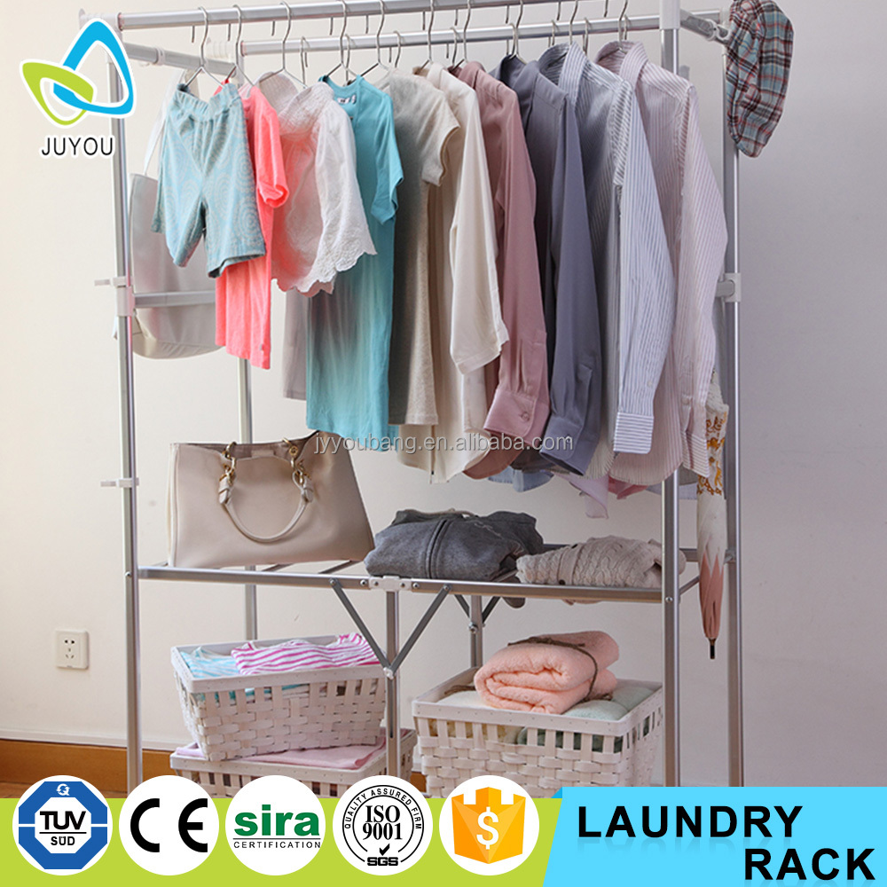 Indoor folding clothes drying laundry rack