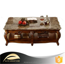 9006A-06- American style wooden classical home living room furniture set antique marble top square coffee table