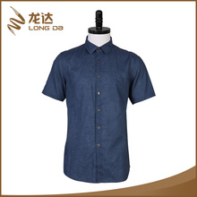 Longda breathable solid color fancy design men plain short sleeve shirt