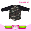 Latest Shirt Designs Camouflage 3/4 Sleeve Baseball Shirts blank Raglan Sleves Raglan Camo T Shirt