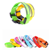 high feedback colorful fashion new design LED light reflectIve stripe pet collar dog