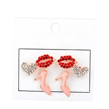 Stud Earrings Set ,Red Sex Lips Earrign ,High Heel Stud Earring Set