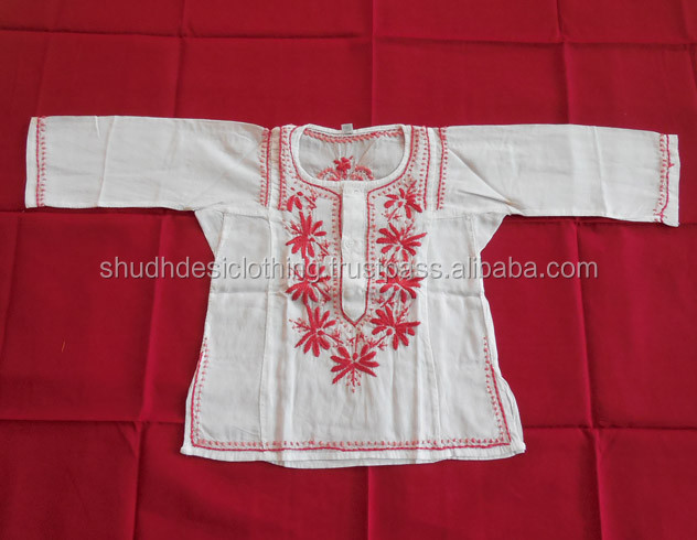 Indian Kurta Kids Wear Cotton Kurti Embroidered Rajasthani Ethnic Style