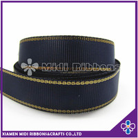 Navy Color Polyester Gold Edged 7/8 Grosgrain Ribbon Wholesale