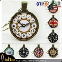 Fashion jewelry retro bronze time gem watches clocks necklace wholesale