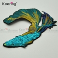 Fashional Big size Peacock color Elegant Fish Reversible Sequin Embroidery applique Patches WEFB-533