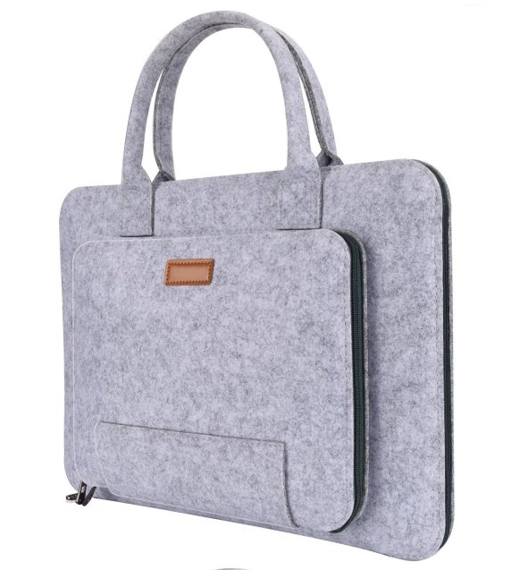 Grey or custom color felt laptop 11 <strong>13</strong> 15 17 Inch Felt Laptop Beg Sleeve with handle
