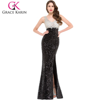 Grace Karin New Arrival Sleeveless V-Neck Sequined High-Split Long Black Japanese Prom Dress 2016 GK000022-1