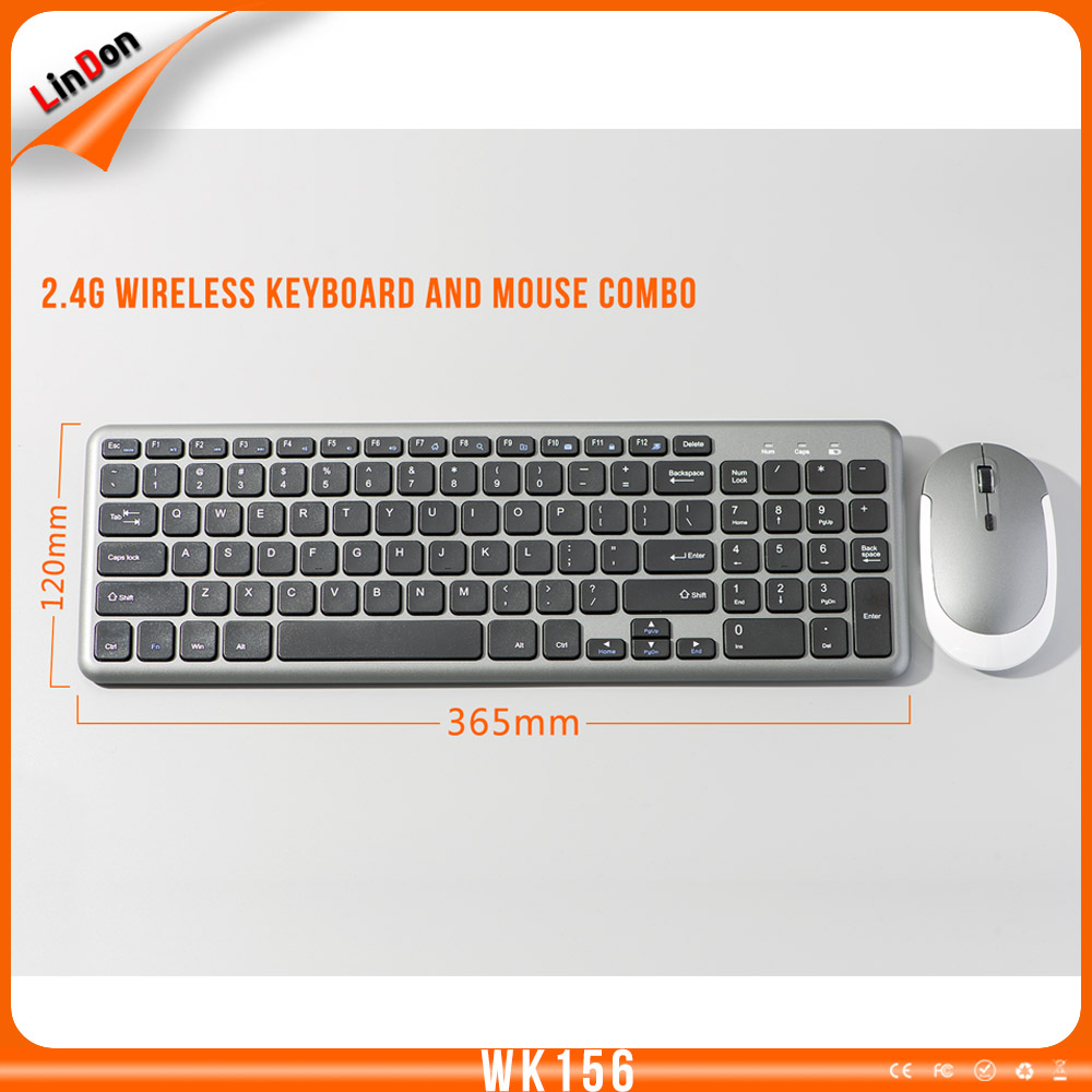 Ultra-thin 2.4GHz wireless keyboard and Mouse for desktop laptop PC