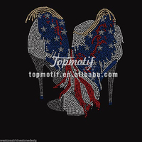 Flatback High Heel Shoes Designs Rhinestone USA Tshirts Motif Transfers