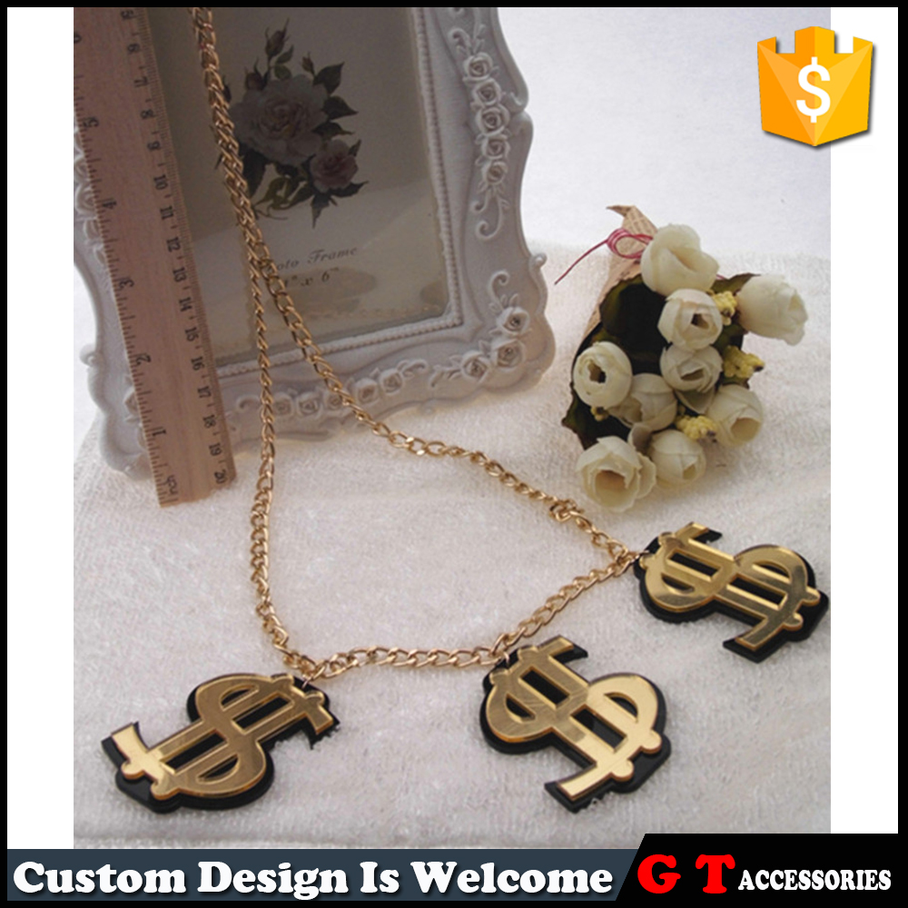 New Arrival Personalized Design Gold Dollar Sign Acrylic Pendant Custom Alloy Necklace With Long Gold Chain