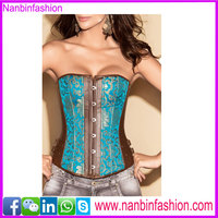 Elegant brown and blue overbust waist shaper big girl sexy corset