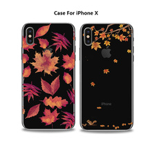 New Maple leaf design 2d print TPU phone case for iphone X, silicone rubber phone cover for iphone 8 8 Plus
