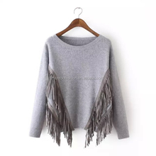 Monroo wholesale tassel sweater ladies young fashion clothing