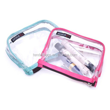 Clear Vinyl Travel Cosmetic Bag Made Of PVC With Zipper