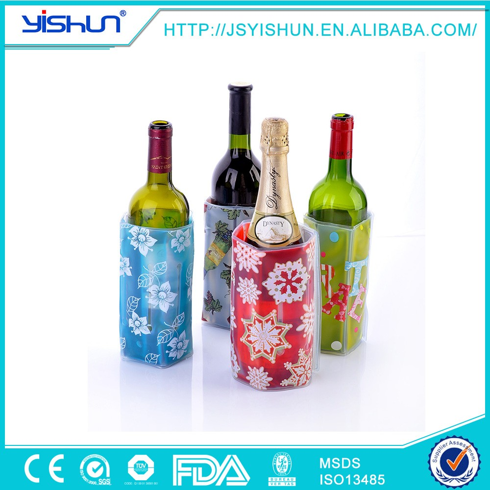 beads wine bottle cooler,gel cooling bottle cooler bag,pvc ice bucket /bottle cooler