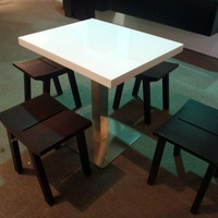 Acrylic Solid Surface dining table with wheels and chair