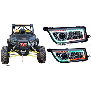 Newest! RGB Halo Ring UTV TURBO RZR 1000 ATV LED Headlight for Polaris