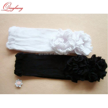 4 COLORS In stock Solid Black White Cotton Knit Ruffled Baby Leg Warmers