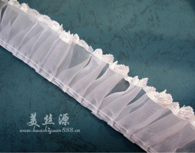 Wholesale pink garment accessory tulle trim with lace