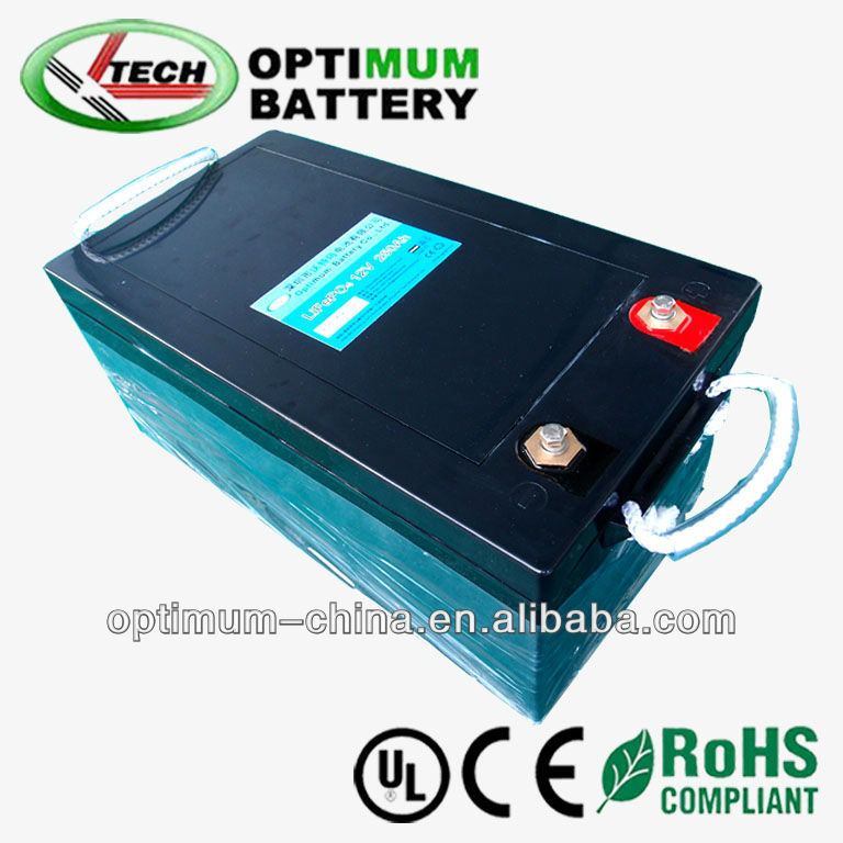 Long cycle life rechargeable 12V 250Ah lithium ion phosphate car phase inverter battery